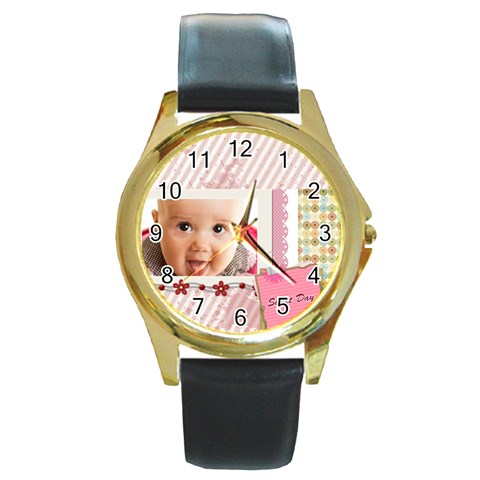 Sweet Day By Joely   Round Gold Metal Watch   N50m5oqi5m6a   Www Artscow Com Front
