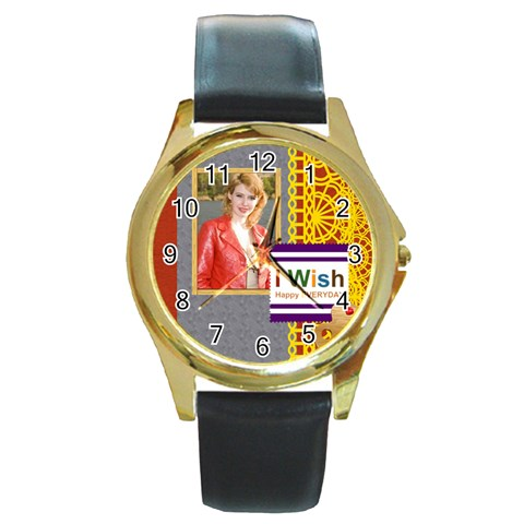 Happy Day By Joely   Round Gold Metal Watch   Gyptks9exc8q   Www Artscow Com Front