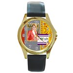 happy day - Round Gold Metal Watch