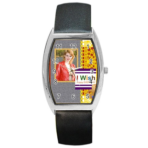 Happy Day By Joely   Barrel Style Metal Watch   M4syq69v2srv   Www Artscow Com Front