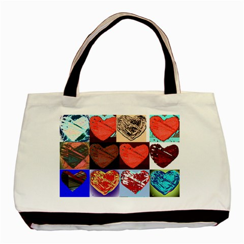 Tote Bag Hearts1 By Riksu   Basic Tote Bag   Yut1so2lsokn   Www Artscow Com Front