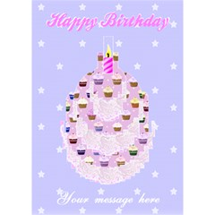 Happy Birthday Pink Cupcake Card By Claire Mcallen   Birthday Cake 3d Greeting Card (7x5)   2i6oj5wly1qk   Www Artscow Com Inside