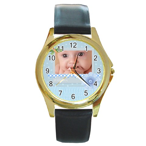 Baby Boy By Joely   Round Gold Metal Watch   Sq8g22253nsi   Www Artscow Com Front