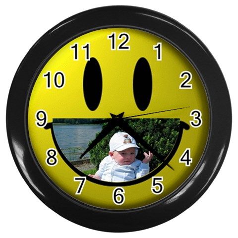 Baby Smile Black Clock By Malky   Wall Clock (black)   Arkt4ldqfa9j   Www Artscow Com Front