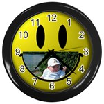 baby smile black clock - Wall Clock (Black)