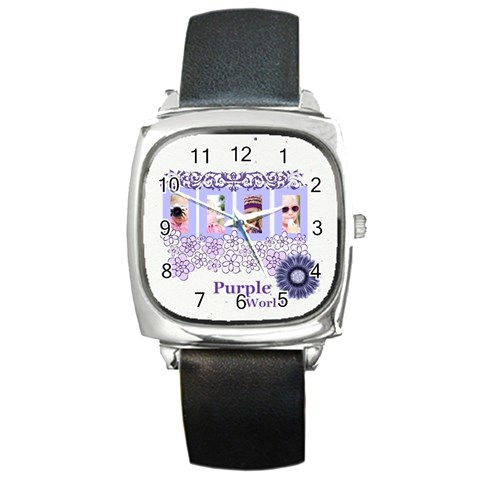 Purple World By Joely   Square Metal Watch   Zd6fugn2cvs5   Www Artscow Com Front