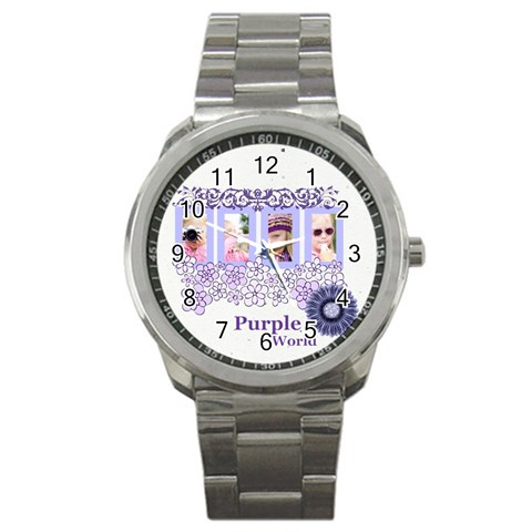 Purple Worlds By Joely   Sport Metal Watch   Hxjvfg76h9qu   Www Artscow Com Front