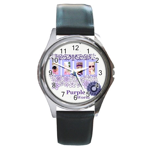 Purple World By Joely   Round Metal Watch   2r9nd4ag6nj8   Www Artscow Com Front