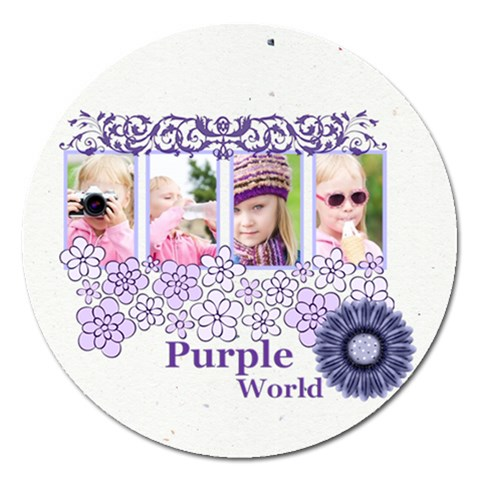 Purple World By Joely   Magnet 5  (round)   6ck1nnqw2q9b   Www Artscow Com Front