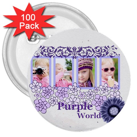 Purple World By Joely   3  Button (100 Pack)   Itfn13bbqgaj   Www Artscow Com Front