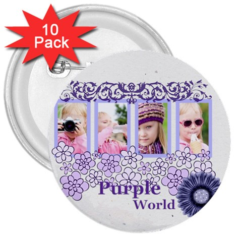 Purple World By Joely   3  Button (10 Pack)   Mq0025p8bh2o   Www Artscow Com Front