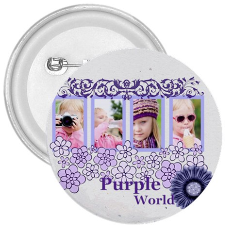 Purple World By Joely   3  Button   N0k8tk3bhwei   Www Artscow Com Front