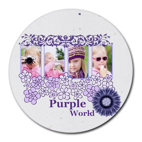 Purple World By Joely   Collage Round Mousepad   5u3tnz7w5llx   Www Artscow Com 8 x8 Round Mousepad - 1