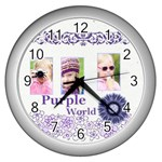 purple world - Wall Clock (Silver)