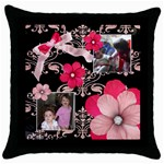 French Quarter - Throw Pillow (Black)  - Throw Pillow Case (Black)