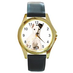 55190649 Black Leather Gold Rim Watch (round) by joscollection