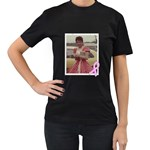 Black Breast Cancer Tee Shirt - Women s T-Shirt (Black) (Two Sided)