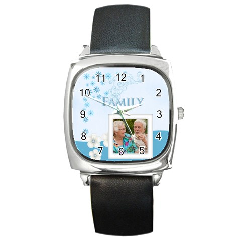 Family By Joely   Square Metal Watch   C32hqch9zurf   Www Artscow Com Front