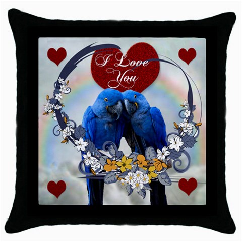 Blue Macaws Pillow By Kim Blair   Throw Pillow Case (black)   Yx6u6f3fl5o8   Www Artscow Com Front