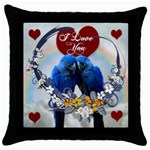 Blue Macaws Pillow - Throw Pillow Case (Black)