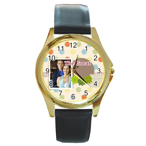 The Great By Joely   Round Gold Metal Watch   H8asklrlb96k   Www Artscow Com Front