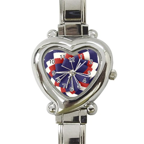 Patriotic Heart Watch By Eleanor Norsworthy   Heart Italian Charm Watch   Kjqlvm33cd71   Www Artscow Com Front