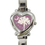 Pink Palmetto Tree Heart Watch - Heart Italian Charm Watch