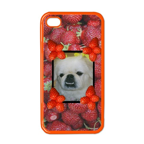 Strawberry Apple iphone 4 case (color) by Kim Blair Front
