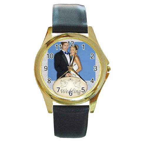 Wedding By Joely   Round Gold Metal Watch   Pleipozwv7nz   Www Artscow Com Front