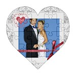 wedding - Acrylic Heart Jigsaw Puzzle  (6  x 6 )