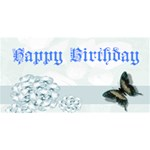 Blue Floral Birthday Card - Happy Birthday 3D Greeting Card (8x4)