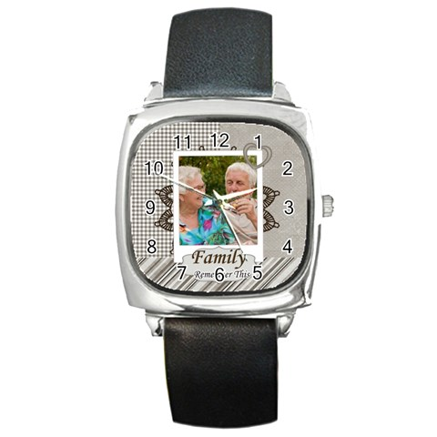 Family By Joely   Square Metal Watch   7xm69ibbn393   Www Artscow Com Front