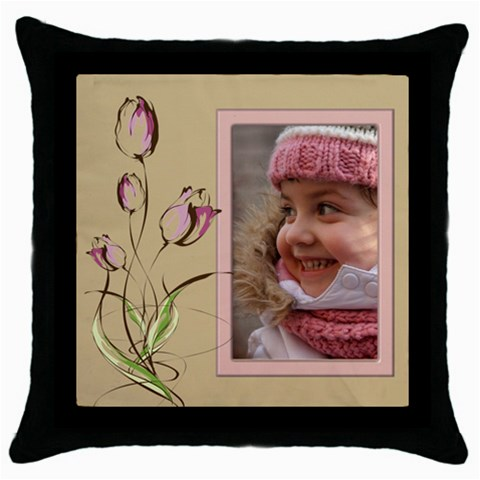 Tulip Throw Pillow In Pink By Deborah   Throw Pillow Case (black)   E4fep3yhtygp   Www Artscow Com Front