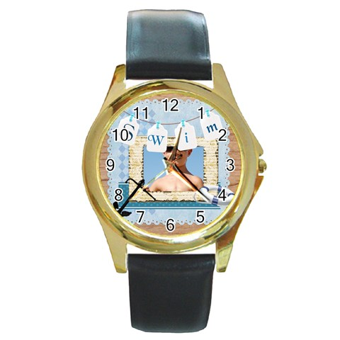 Swim By Joely   Round Gold Metal Watch   Lqdqe9ixwkdw   Www Artscow Com Front