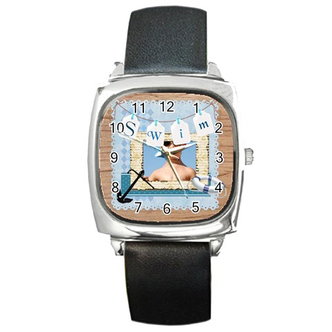 Swim By Joely   Square Metal Watch   Upbqjnm01pv9   Www Artscow Com Front