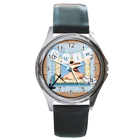 Swim By Joely   Round Metal Watch   6is6uvoc3wmt   Www Artscow Com Front
