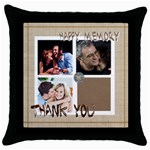 thank you - Throw Pillow Case (Black)