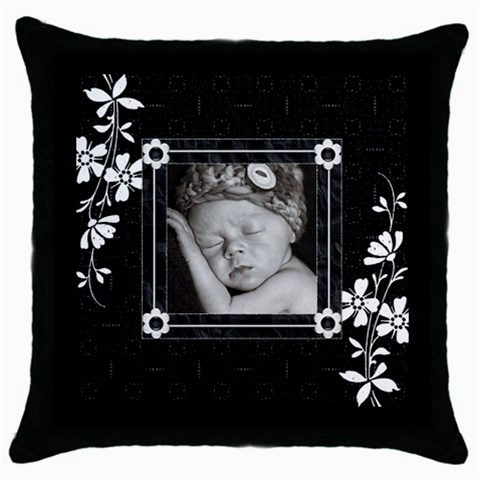 Black And White Throw Pillow Case By Lil    Throw Pillow Case (black)   L4uu76rffp6j   Www Artscow Com Front