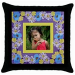Precious Poppy Throw Pillow - Throw Pillow Case (Black)