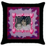 Heart Frame Square Pillow - Throw Pillow Case (Black)
