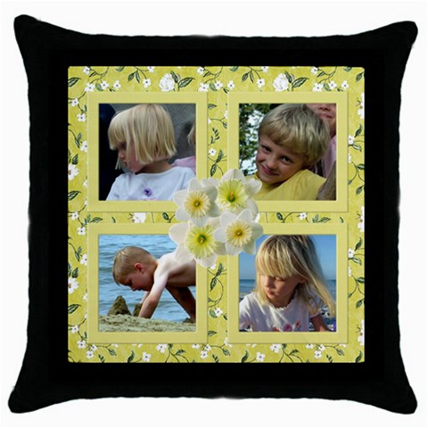 Yellow Floral Throw Pillow By Deborah   Throw Pillow Case (black)   Z5xmynud9zwr   Www Artscow Com Front