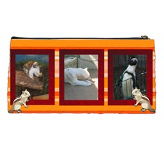 oange striped pencil case by Kim Blair Back