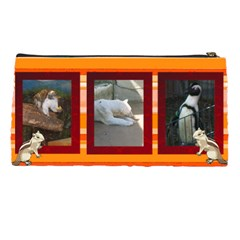 Oange Striped Pencil Case By Kim Blair   Pencil Case   O7pksikjkrt4   Www Artscow Com Back