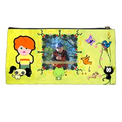 Child with critter pencil case by Kim Blair Back
