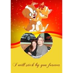 Puppy And Kitten Heart Card By Kim Blair   Heart Bottom 3d Greeting Card (7x5)   Kxn355297gcu   Www Artscow Com Inside
