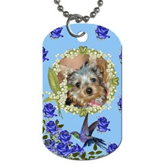 Blue rose dog tag two sides by Jolene Front
