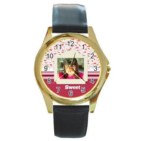 Sweet By Divad Brown   Round Gold Metal Watch   Bqmm8kzyl22s   Www Artscow Com Front