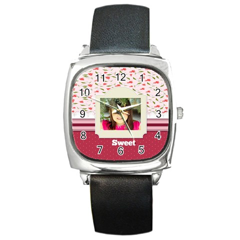 Sweet By Divad Brown   Square Metal Watch   Qpesnce0btoh   Www Artscow Com Front