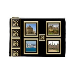 My Black And Gold Cosmetic Bag (large) By Deborah   Cosmetic Bag (large)   4kf8e4vwlvpm   Www Artscow Com Front
