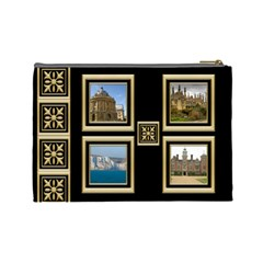 My Black And Gold Cosmetic Bag (large) By Deborah   Cosmetic Bag (large)   4kf8e4vwlvpm   Www Artscow Com Back
